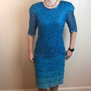 Vintage 80s Beaded Blue Formal/Party Dress